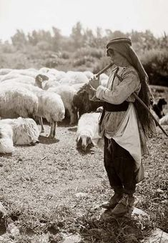 An Arab shepherd boy plays his flute to while away the time as he tends his flock, c. 1898: