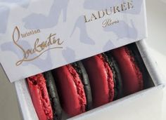 christian louboutin inspired macaroons- i love how the mimic the classic black heel and red sole