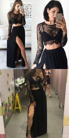 7379211003 Black A-line Scoop Neck Lace Chiffon Ankle-length Split Front Two Piece Long  Sleeve Prom Dress