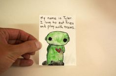 Original Watercolor Illustration ACEO Trading Card Robot by Cyclop, $3.00