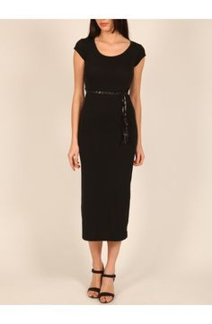 Robe longue en coton noir, très chic, manches courtes