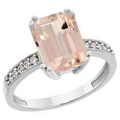 72% Off was $2,717.00, now is $754.60! 14K White Gold Natural Morganite Ring Octagon 10x8mm Diamond Accent, sizes 5 to 10