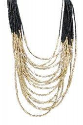 Maxi colar de miçangas pretas e douradas