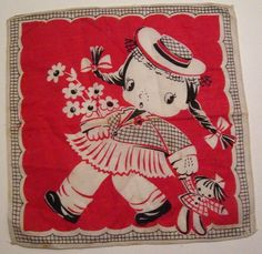 Vintage Red White Black Children Hankie of Girl Dragging Doll. via Etsy.