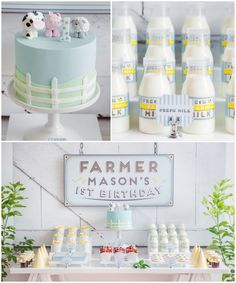 Adorable Farm themed 1st birthday party.  Partyware www.emikoblue.com