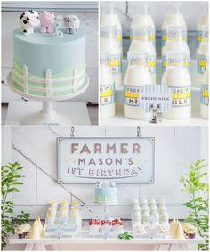 Adorable Farm themed 1st birthday party via Kara's Party Ideas KarasPartyIdeas.com Printables, cake, decor, cupcakes, tutorials, etc! #farmp...