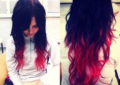 Dip dye red and black