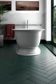 Painted Bathroom Floors, Best Bathroom Flooring, Wood Floor Bathroom, White Bathroom Tiles, Herringbone Tile Floors, Herringbone Pattern, Dark Green Bathrooms, Rustic Bathroom Designs, Bathroom Styling