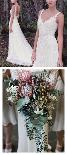 9 Boho Bouquets For Your Eclectic Wedding Gown - Lovely Jorie wedding dress by Maggie Sottero paired with a unique cascade bouquet full of succelents. Photo: It's Beautiful Here Boho Wedding Gown, Country Wedding Dresses, Gorgeous Wedding Dress, Fall Wedding, Bridal Gowns, Dream Wedding, Wedding Stuff, Cascading Wedding Bouquets, Cascade Bouquet