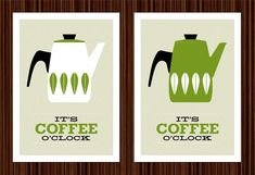 Cathrineholm poster print Mid Century Modern home kitchen art coffee poster tea - It's Coffee O'cloc