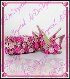 Aidocrystal handmade fuchsia crystal party peep toe high heel matching  slingback shoes and bags for wedding 3b4c24407fbe