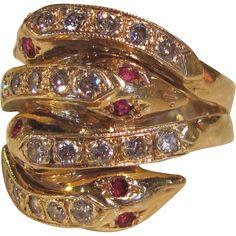 14K Diamond Ruby Serpent Ring Victorian Style