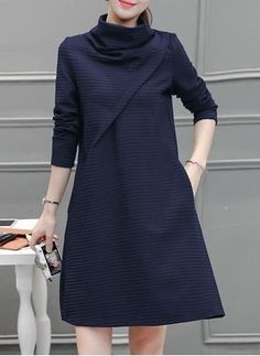 Solid Pockets High Neckline Long Sleeve Shift Dress (1118261)