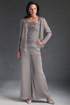 50's style mother of the groom attire | cheap three piece Chiffon mother of the dress pant suits with lace nmo ...