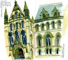 Lynne Chapman: Urban Sketchers: Test-Driving my new Concertina Sketchbook