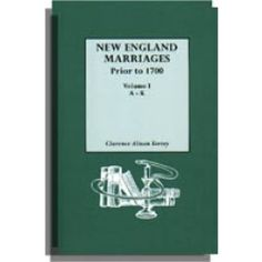 New England Marriages Prior to 1700 6th printing. With an updated Introduction by Gary Boyd Roberts. One volume in two by Clarence A. Torrey.