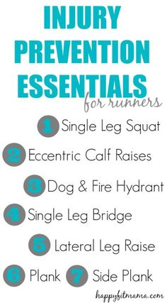 The Best Injury Prevention Exercises for Runners -Happy Fit Mama Single Leg Deadlift, Keep Running, Running Tips, Dog Fire Hydrant, Living Room Workout, Single Leg Bridge, Running Injuries, Strength Training Workouts, Colors