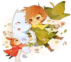 Snufkin, Little My and Moomin