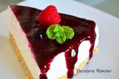 Prajitura la rece cu iaurt si fructe de padure facuta de Ramona Dascalu Romanian Food, Cheesecakes, I Foods, Biscuit, Food And Drink, Lose Weight, Sweet, Desserts, Recipes