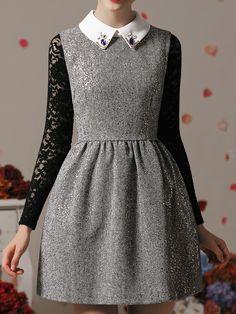 Metallic Dot Dress with Bead Shirt Collar   Choies