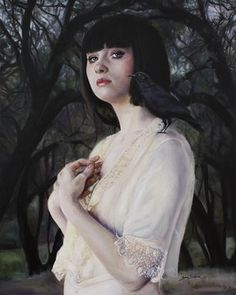 She Found Comfort in His Dark Plumes by Sara Scribner (oil on panel)