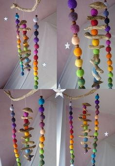 Decorative Objects – Colorfull Driftwood Rainbow Felt Mobile – a unique product by Mei-Lynn on DaWanda Crafts To Sell, Fun Crafts, Diy And Crafts, Needle Felted, Wet Felting, Diy For Kids, Crafts For Kids, Rainbow Decorations, Nature Table