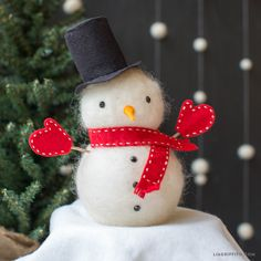 Looking for snowman crafts? Our foam ball snowman is the perfect beginner craft using wool felt roving and pretty adhesive gems. Tutorial by Lia Griffith.
