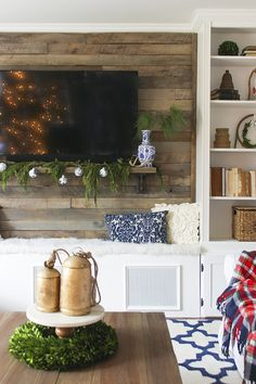 Navy and white with pops of red and gold Christmas home tour. Plank wall behind TV. Wood Plank Walls, Wood Planks, Christmas Living Rooms, Christmas Home, Gold Christmas, Living Room Tv, Home And Living, Cozy Living, Wall Behind Tv