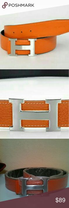 New! Logo Fashion Leather Belt. Brand new Designer logo fashion belt. Leather with silver logo buckle. Fits 34-40. Can also have new holes added for 30/32.  Comes with leather punch tool to add holes. Still brand new in plastic. No box included. Unisex belt. Amazing inspirational quality. See ALL pics prior to purchase. Thank you for shopping my closet. Accessories Belts