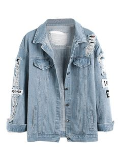 Light Blue,Letter Patch,Ripped,Pockets,Denim Coat