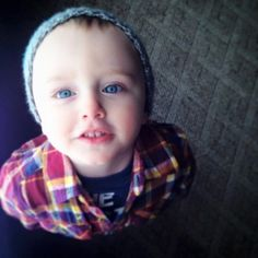 Look at those blue eyes this toddler has in this photo