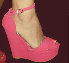 Pretty in pink! Pink Shoes, Hot Shoes, Crazy Shoes, Me Too Shoes, Pink Pumps, Shoes Heels, Wedge Boots, Wedge Sandals, Shoe Boots