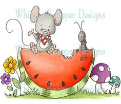 Whipper Snapper Designs is an expansive online store selling a large variety of unique rubber stamp designs. Illustration Mignonne, Cute Illustration, Child Draw, Animal Drawings, Art Drawings, Art Fantaisiste, Cute Mouse, Tole Painting, Digi Stamps