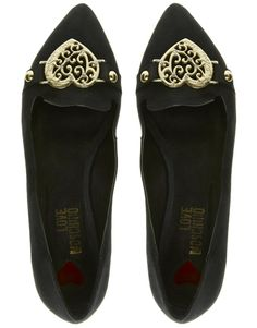 Love Moschino Black Suede Slipper Shoes. With a orangebrownreddish heel. So lovely, feminine and strange.