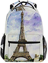 6ec9055967f7 Backpack Travel Eiffel Tower School Bookbags Shoulder Laptop Daypack ...