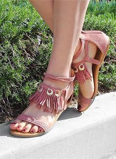 7432f3dcbc7c2 Online shopping for Fringe Charm Accent Sandals MAUVE from a great  selection of women s fashion clothing   more at MakeMeChic.