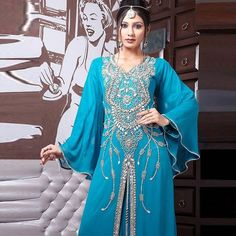 f2b028cd0f Fashion V Neck long sleeve Applique Crystal Beaded Chiffon Evening Dresses  Ice Blue Dresses Vestido Árabe