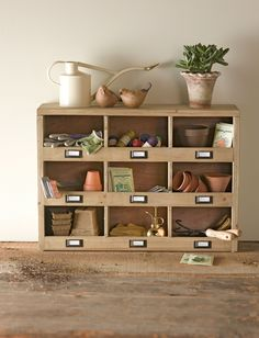 Storage Cubbies from Gardener's Supply Company. I love a cubby. Any cubby. All cubbies. I love them all.