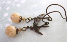 Pacific Swallows Earrings. Vintage Ivory by BumbershootDesigns