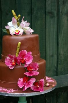 Orchids and bamboo cake