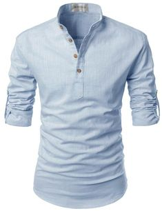 Henley and mandarin collar designed casual shirts for men. cotton linen fabric tops with roll-up long sleeves. Slim fit buttoned s. Women's Henley, Henley Shirts, Casual Shirts For Men, Men Casual, Cotton Shirts For Men, Mode Cool, Collar Shirts, Shirt Style, Bali