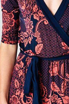 Coral & Navy Print Wrap Dress