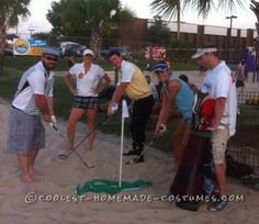 Easy No-Sew DIY Golfers Group Costume with Caddie... Coolest Halloween Costume Contest