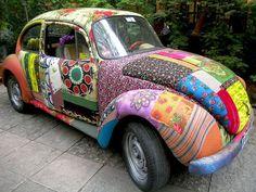Modge Podge and fabric-covered Volkswagen VW Bug car Volkswagen Bus, Carros Retro, Combi Wv, Mod Podge Fabric, Vw Camping, Kdf Wagen, Vw Vintage, Love Bugs, Vw Beetles
