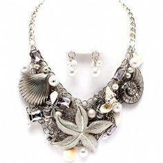 Chunky Silver Beach Themed Necklace Set on Fantasyjewelrybox.com