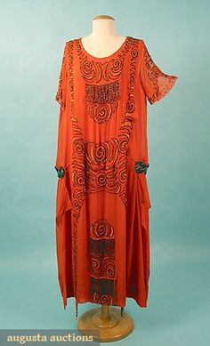 Augusta Auctions, April 2006 Vintage Clothing & Textile Auction, Lot 655: Beaded Chiffon Party Dress, 1920s