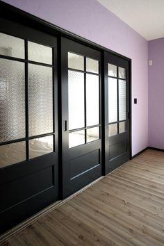 室内ドア/黒/引き戸/ガラス戸/造作ドア/扉/インテリア/注文住宅/施工例/ジャストの家/door/interior/house/homedecor/housedesign