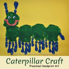 Fun Handprint and Footprint Art : Too Cute Handprint Caterpillar Preschool Craft