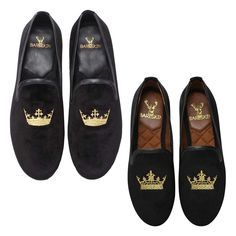 fb477ea47a3 Combo of Black Velvet Slip-On With Golden Crown Embroidery For Men and women  · Loafers MenBuy Leather ...