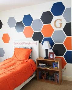 How to Paint a Tween Boy Room Hexagon Accent Wall DIY hexagon wall tween boy room focal wall, bedroom ideas, diy, paint colors, painting Boys Bedroom Paint, Accent Wall Bedroom, Boys Bedroom Decor, Trendy Bedroom, Accent Walls, Bedroom Inspo, Bedroom Dressers, Blue Bedroom, Boys Bedroom Ideas Tween Wall Colors